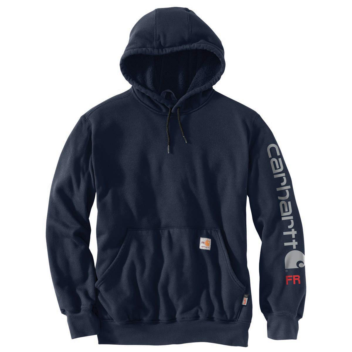 Carhartt Sweatshirt Midweight Signature Sleeve Logo Hooded Sweatshirt New Navy