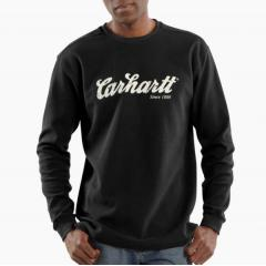 Men's Textured-Knit Script Graphic Crewneck