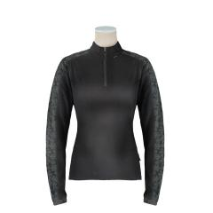 Women's Feminine Long Sleeve Top with Zip Neck