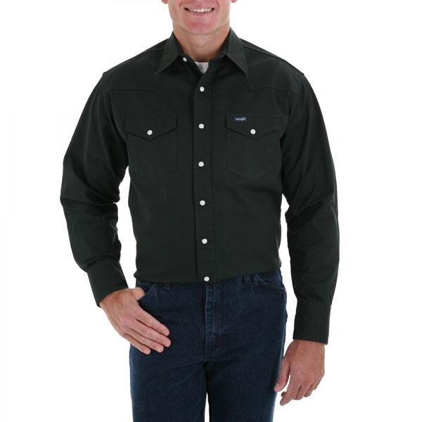 Wrangler Men's Black Forest Green Long Sleeve Twill Solid