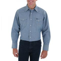 Men's Chambray Blue Long Sleeve Twill Solid