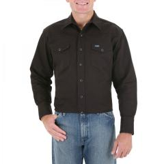 Men's Black Long Sleeve Twill Solid