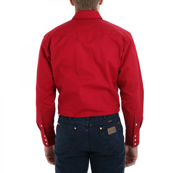 Wrangler Men's Red Long Sleeve Twill Solid