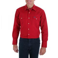 Men's Red Long Sleeve Twill Solid