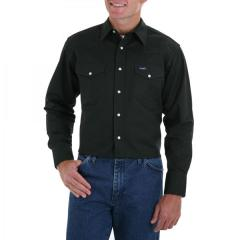 Men's Black Forest Green Long Sleeve Twill Solid