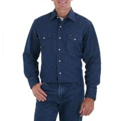 Men's Blue Long Sleeve Twill Solid