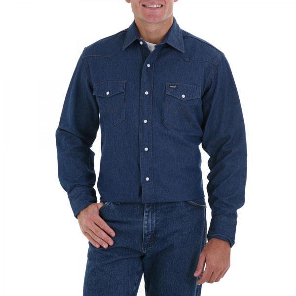 c99a7346 Wrangler Men's Blue Long Sleeve Twill Solid
