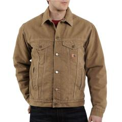 Men's Sandstone Jean Jacket - Sherpa Lined