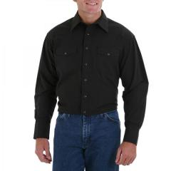 Wrangler Men's Long Sleeve Solid Broadcloth Sport Western Shirts