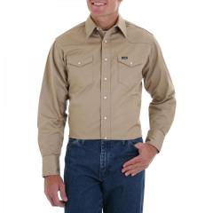 Men's Work Long Sleeve Solid Khaki Work Shirt