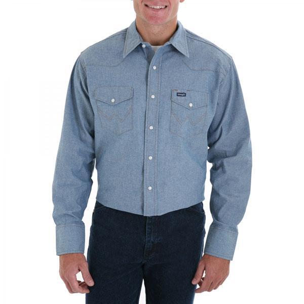Wrangler men 39 s authentic cowboy cut denim work shirt for Mens denim work shirt