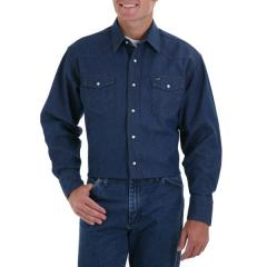 Wrangler Men's Cowboy Cut Long Sleeve Denim Shirt - Firm Finish
