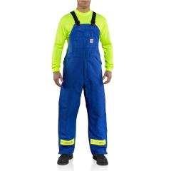 Men's Flame-Resistant Duck Bib Overall with Reflective Striping - Quilt Lined