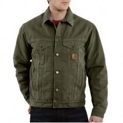 Men's Sandstone Jean Jacket - Sherpa Lined- Discontinued Pricing