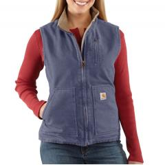 Women's Sandstone Mock Neck Vest - Sherpa Lined