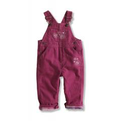 Infant and Toddler Girls' Washed Flannel Lined Canvas Bib Overall
