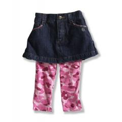 Infant and Toddler Girls' Washed Denim Skirt with Legging