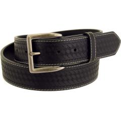 Men's Rugged Wear Belt 1 1/2 Inch Heavy Oil Tanned Leather Basketweave - Black