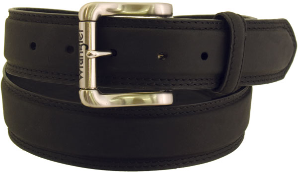 Wrangler Men's Rugged Wear Belt 1 1/2 Inch Heavy Oil Tanned Leather Smooth Black