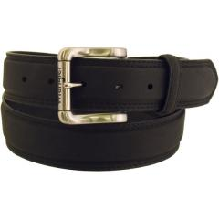 Men's Rugged Wear Belt 1 1/2 Inch Heavy Oil Tanned Leather Smooth Black