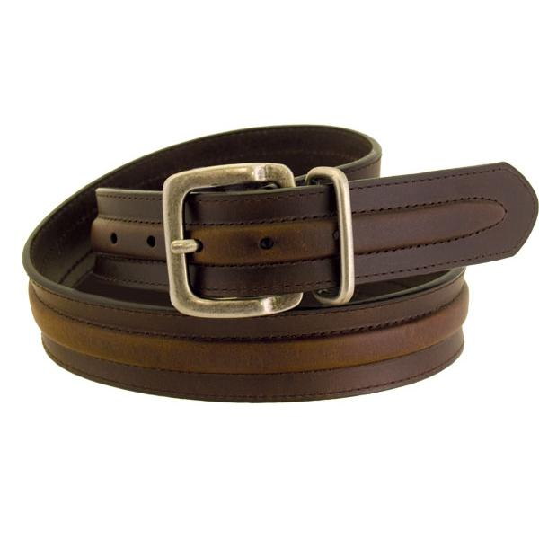Wrangler Men's Rugged Wear Belt 1 1/2 Inch Heavy Oil Tanned Leather Raised Middle Brown