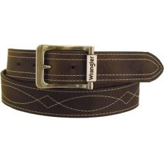 Men's Rugged Wear Belt 1 1/2 Inch Heavy Oil Tanned Leather Side Stitch - Brown