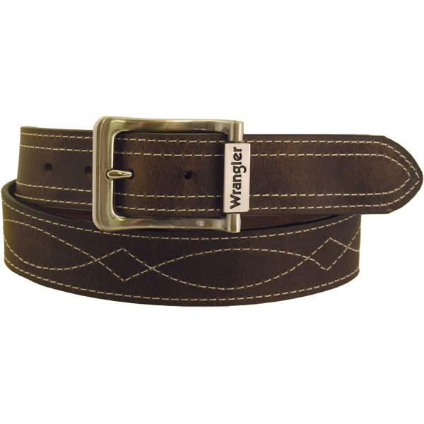 Wrangler Men's Rugged Wear Belt 1 1/2 Inch Heavy Oil Tanned Leather Side Stitch - Brown