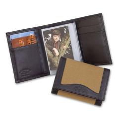 Leather/Twill Trifold Wallet