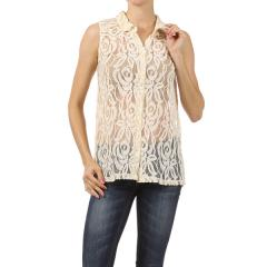 High/Low Hem Sleeveless Lace Shirt
