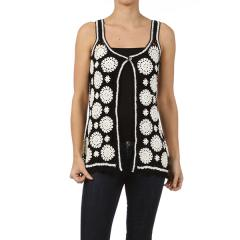 Women's Crochet Flowered Vest
