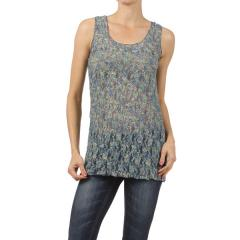 Print Lace Detail Tank Top