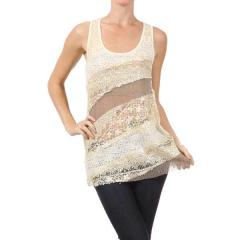 Women's Crochet Lace & Sequins Tank