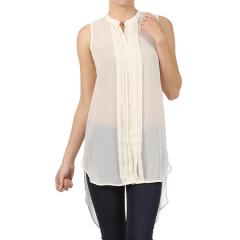 Women's Asymmetrical Button Down Blouse