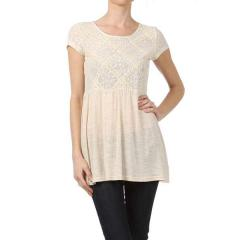 Cross Lace Trim Detail Short Sleeve Tunic