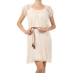 Women's Crochet/Pleat Chiffon Dress
