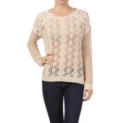 Lace Trim Yarn Pullover