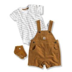 Infant Boys' Canvas Shortall 3 Piece Set