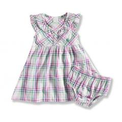 Toddler Girls' Woven Plaid Dress Set with Bloomer