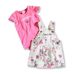 Infant Girls' Washed Printed Twill Jumper Set