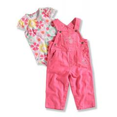 Infant Girls' Washed Canvas Bib Overall Set