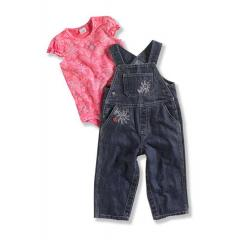 Infant Girls' Washed Bib Overall Set