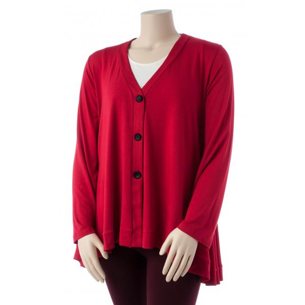 Comfy USA Women's Three Button Cardigan Extended Size