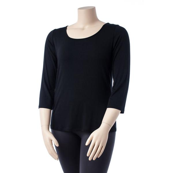 Comfy USA Women's Three Quarter Scoop Neck Tee Extended Size