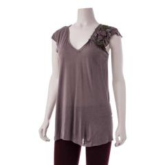 Women's Gathered Flower Shoulder Top