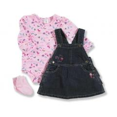 Infant Girls' Washed Denim Three Piece Set