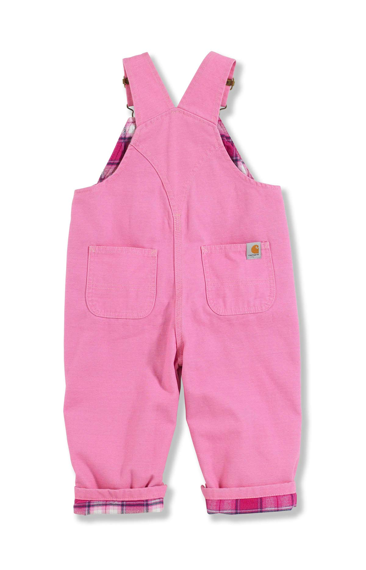 Carhartt Infant and Toddler Girls' Washed Microsanded Canvas Bib Overall Flannel Lined