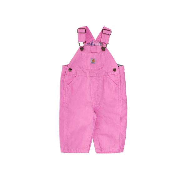 Carhartt Infant and Toddler Girls' Washed Microsanded Canvas Bib Overall - Flannel Lined