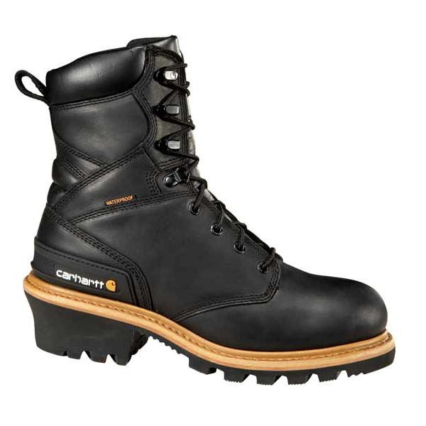 Carhartt Men's 8 Inch Black Waterproof Logger Boot Non Safety Toe