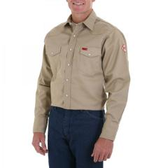 Men's Flame Resistant Long Sleeve Khaki Twill Solid