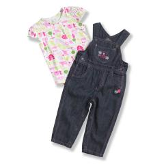 Infant Girls' Washed Denim Bib Overall Set